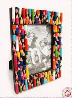 Surroundings Bariri: Ideas to customize picture frames …, … - Diy & Craft Days Kids Crafts, Diy Home Crafts, Craft Projects, Frame Crafts, Diy Frame, Marco Diy, Cadre Photo Diy, Diy Para A Casa, Craft Ideas