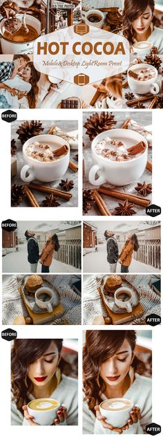 10 Hot Cocoa Mobile & Desktop Lightroom Presets The Hot Cocoa presets will produce warm brownish tones feel with a chocolate taste. We're using these presets in our winter feed on Instagram. But of course, they will work year-round, giving life, warmth to your images, making your photos warm and cozy. It also gives skin a tan glow. -10 Unique lightroom mobile presets (.dng file) -1 installation guide For Lightroom Mobile preset (.pdf file) -10 Unique Lightroom Desktop Preset (.lrtemplate… Cocoa, Best Photoshop Actions, Instagram Grid, Presentation Folder, Grid Design, Brochure Template, Lightroom Presets, How To Make Money, Fonts