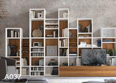 Libreria A036   finiture disponibili: essenze, materico nodato ...
