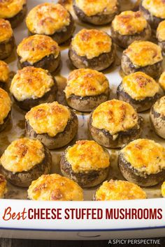 Best Cheese Stuffed Mushrooms - A simple three cheese stuffed mushroom recipe with smoked cheddar, cream cheese, parmesan and roasted red peppers. #ASpicyPerspective via @spicyperspectiv