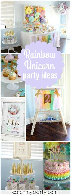 Check out this magical and sparkly unicorns and rainbows party! See more party ideas at Catchmyparty.com!