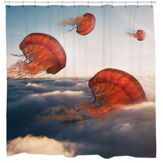 Jelly Clouds Shower Curtain.   I don't think you're ready for this jelly! Enjoy this whimsical art piece, Jelly Clouds, featuring jellyfish in the sky.