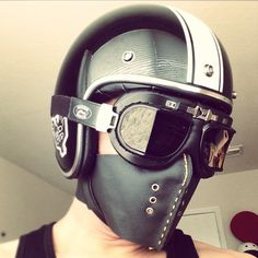 """Throwback to my very first leather #mask design. So much has been improved after that. #caferacer #custom500 #leathercraft #handmade #fashion #vintage…"""