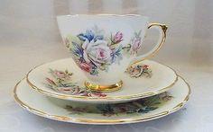 Delphine Vintage Floral Rainbow Teacup Saucer and Side plate Teacup Trio England