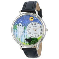 Whimsical Unisex Halloween Ghost Black Skin Leather Watch. #ghost #halloween #watch