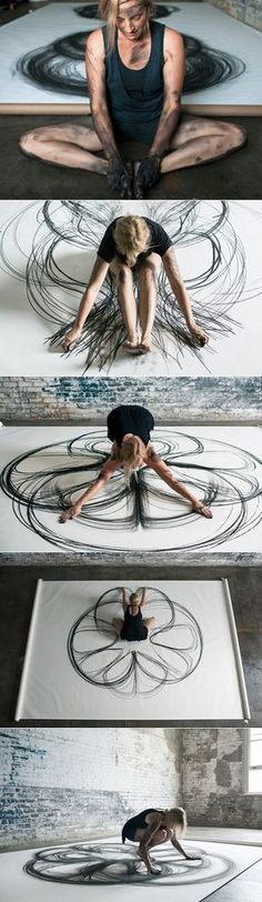 """Heather Hansen's """"extraordinary project called Emptying Gestures"""" in which """"she experimented with kinetic drawing. It's a technique where the artist uses her own body to illustrate action on a two-dimensional surface rather than using paintbrushes. Her goal was to download her movement directly onto paper, emptying gestures from one to another by creating something incredible in the process."""""""