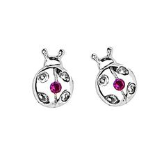 Baby and Children's Earrings:  Sterling silver Ladybug Earrings with Safety Screw Backs $36.47