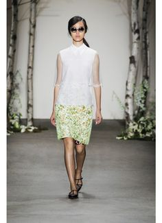 White birch tiered blouse with laser cut flowerbed appliqué and neon green pigment printed organza skirt from HONOR's Spring 2014 Collection.