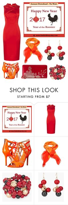 chinese new year by lanebuleusedepersephoneia on Polyvore featuring Sam Edelman, Gucci, Chico's, Hermès, dress, chinese and happynewyear