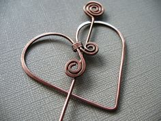 Twisted Heart Copper Scarf Pin or Hat Pin or Shawl Pin by DonnaJs, $18.00