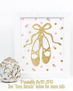 Ballerina Room Decor, Printable Ballerina Wall Art, Ballerina Birthday Party Decorations, Keep Calm and Twirl On - Blush Pink Gold Glitter