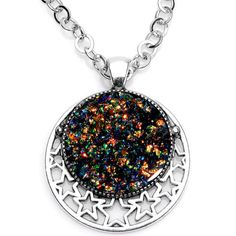 Handmade Black Faux Opal Starry Universe Silver Plated Chain Necklace