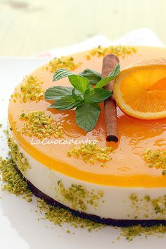 No Bake Orange Cheesecake Italian Desserts, Köstliche Desserts, Delicious Desserts, Dessert Recipes, Yummy Food, Brownie Recipes, Cheesecake Recipes, Pretty Cakes, Cake Cookies