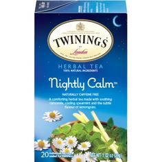 Nightly Calm from Twinings is an herbal tea with chamomile, spearmint & flavor, lemongrass, linden, orange leaves & blossom, rosebuds and hawthorn berries.  The smell and taste are mostly spearmint and chamomile.  Nothing out of the box but nice.