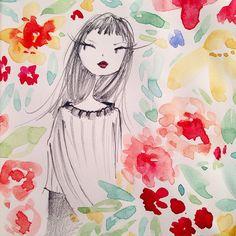 Big bouquet #flowers #sketch #blackwingpencils #watercolor