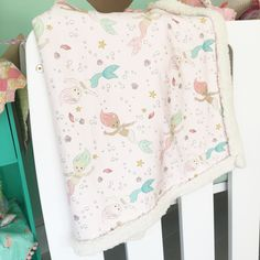 Pink Mermaid Snuggle Blanket with Organic Jersey and Faux Sherpa Backing (3 sizes,one for baby) - Live Sweet Shop