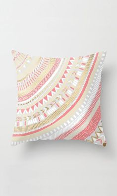 Coral + Gold Tribal Throw Pillow