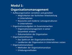 Der Zertifikats-Studiengang Organisation & Prozessmanagement richtet sich an Mitarbeiterinnen und Mitarbeiter aus Organisationsabteilungen. Mit seinen vier Modulen schafft der Studiengang ein  Fundament für die fachlichen Herausforderungen, denen eine Organisationsabteilung gegenüber steht. Dazu zählen die Aufgaben der Aufbauorganisation ebenso wie die des Prozessmanagements.