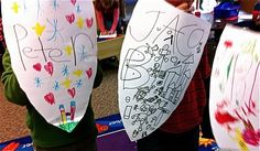 One of the projects I like to do during the Kings and Queens of Hearts unit is a family shield. I send home a tag board shield and the families decorate it according to my instructions. This year, my intern, Amanda Mitchell, wanted the children to make the shields as one of our work stations. … Group Counseling, Elementary School Counseling, School Counselor, Counseling Activities, School Social Work, Elementary Schools, Art Therapy Activities, Therapy Ideas, Play Therapy