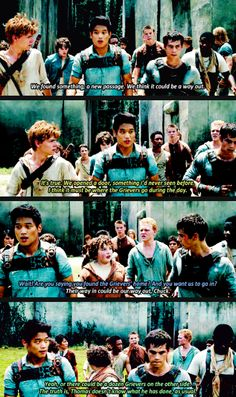 Thomas, Minho, Chuck, and Gally. Lol, Thomas' face at the end. People who think that Thomas is stupid are definitely Gallys.