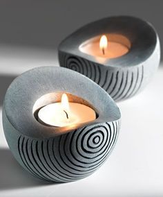 """Handcarved soapstone scoop shaped tealight holder > Tea light, Votive & Candle h. - Tea light, Votive & Candle h…""""> Handcarved soapstone scoop shaped tealight holder > Tea light, - Cement Art, Cement Planters, Concrete Crafts, Concrete Pots, Concrete Projects, Concrete Candle Holders, Diy Candle Holders, Diy Candles, Beeswax Candles"""