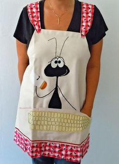 :D BBQ / Picnic Ant with Corn on the Cob Apron by huskadoo on Etsy… Retro Apron, Aprons Vintage, Sewing Aprons, Sewing Clothes, Sewing Crafts, Sewing Projects, Cute Aprons, Kitchen Aprons, Fabric Painting