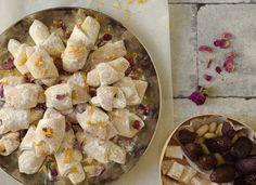 MINI CRESCENT ROLLS WITH TURKISH DELIGHT OR DATES, ORANGE ZEST, ROSE PETALS