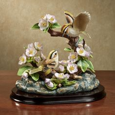 Birdwatcher Delight Porcelain Bird Figurine - Kinglets and Apple Blossoms