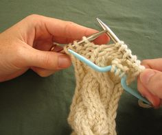 3. Knit the next 3 stitches from the left-hand needle.