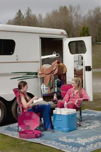 Turn Your Horse Trailer into an All-Purpose Base of Operations. Here's how to turn your parked horse trailer into an all-purpose base of operations when you haul in to a show or other horse event. Horse Trailer Organization, Room Organization, Fifth Wheel Trailers, Horse Camp, Rodeo Life, Horse Grooming, Barrel Horse, All About Horses, Horse Tips
