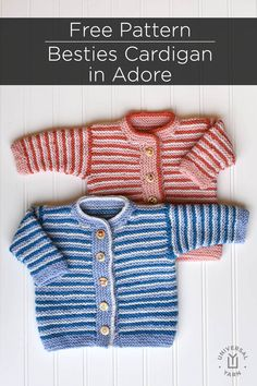 The striped Besties cardi knit in Universal Yarn Adore is a sweet coverup for babies and toddlers. Baby Cardigan Knitting Pattern Free, Kids Knitting Patterns, Knitting For Kids, Free Knitting, Besties, Universal Yarn, Striped Knit, Free Pattern, Toddlers