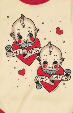Sourpuss Smile Now Cry Later Kewpie One Piece Flash Art Tattoos, Body Art Tattoos, Thigh Tattoos, Tatoos, Cherub Tattoo, Spooky Tattoos, Kawaii Tattoo, Doll Tattoo, Traditional Tattoo Flash