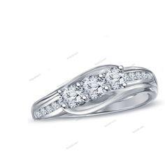 D/VVS1 14K White Gold Plated 925 Silver Round Shape Diamond Women's Wedding Ring…