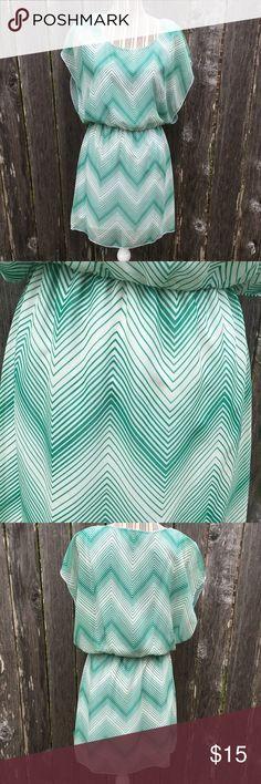 Green White Chevron Boho Cocktail Dress Sz L Green White Chevron Boho Cocktail Dress Size Large Dresses Midi