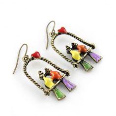 $3.27 Chic Style Coupled Birds Shape Embellished Sweet Earrings For Women