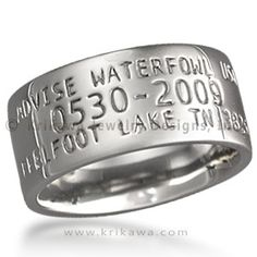 Duck Wedding Band - Are you or your partner passionate about waterfowl? Band your beloved with a precious metal Krikawa duck ring. Like an actual duck band with its unique ID number, make yours one-of-a-kind with your wedding date or meaningful location. Here are two versions to consider:%0d%0a %0d%0a%0d%0a%0d%0aAVISE WATERFOWL USA%0d%0a%0d%0a0516-2015%0d%0a%0d%0aSPRING LAKE MI 49456%0d%0a%0d%0aAVISE BIRD BAND%0d%0aSPRING LAKE MI%0d%0a%0d%0a0516-2015%0d%0a