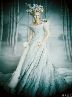 "Jadis the White Witch and Queen of Narnia as depicted in ""The Chronicles of Narnia: The Lion, the Witch & the Wardrobe"" (2005). The handmade gown utilized a combination of felt and distressed lace stitched together to create a wholly organic creation, as if Jadis was clothed by Narnia itself."