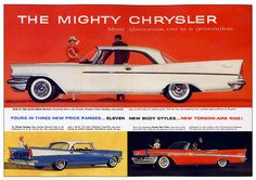 Advertising For The 1957 Chrysler Automobile In Life Magazine, May 1957 Vintage Advertisements, Vintage Ads, Vintage Trucks, Vintage Travel, Vintage Images, Chrysler Windsor, Chrysler Saratoga, Chrysler Imperial, Buick Lesabre