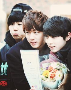 Jimin, Jin + Jungkook BTS. Umm, Jimin, that's a new expression... that I've never seen before... on this planet. O_o