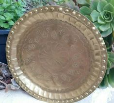Solid Brass Tray Hand Carved/ Hammered Vintage Round Serving Tray 28.5 cm