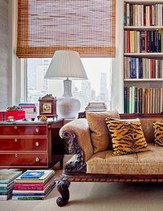 """""""The bamboo blinds are an essential element because without them it really gets too cold,"""" says Alexa Hampton of her New York City office. """"They help give the space warmth and ground it. Alexa Hampton, Bamboo Blinds, Wood Blinds, House Blinds, Blinds For Windows, Decorating On A Budget, Interior Decorating, Interior Design, Eclectic Design"""