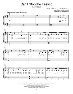 New choir sheet music on Modern Score : Justin Timberlake: Can't Stop The Feeling - Partition Autre - 3,90€  Partition Autre