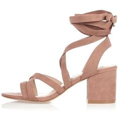 084a8b743dbd nude soft tie heel sandals by River Island. Faux suede Lace-up design Block  heel Heel height