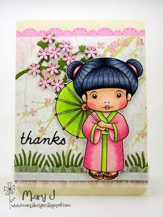 Using La-La Land Crafts goodies - Kimono Marci, Cherry Blossom Branch Die, Grass Border Die, Stitched Scallops Border Die