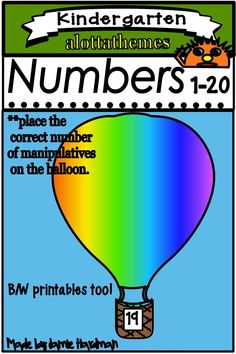 Students in preschool, P-K, K, Special Needs and Autism classrooms can practice their counting skills with this HANDS ON FINE MOTOR Hot Air Balloons count to Colored and black and white printables. Alphabet Activities, Math Activities, Counting To 20, Math Skills, Math Lessons, Autism Classroom, Number Sense, Learning Through Play, Teaching Kindergarten