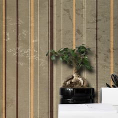 600010 Brown Orange Striped Portofino Wallpaper