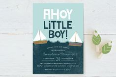 Ahoy Little Boy Baby Shower Invitations by Ashley Hegarty at minted.com