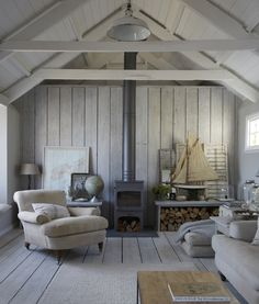 The Oyster Catcher Cornwall, rustic beach interiors, coastal… – Stone House Coastal Living Rooms, Coastal Cottage, Living Spaces, Cozy Cottage, Cottage House, Cottage Gardens, Coastal Farmhouse, Cottage Living, Country Living
