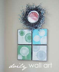 Doily Wall Art..who woulda thought?  @Tanya Mirican, maybe you could give doilies a second shot?