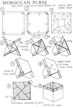 Diagrams for Moroccan Purse (box) by Martin Wall.